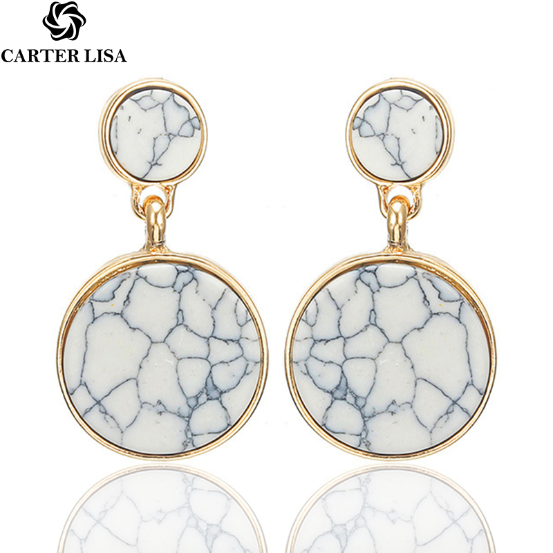 CARTER LISA Hot Selling Fashion Round Drop Earrings For Women Marble Color Stone Metal Ear Jewelry Personalized HLEZ79000