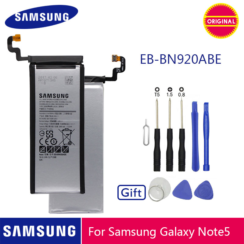 SAMSUNG Original Phone Battery EB-BN920ABE 3000mAh For Samsung Galaxy Note 5 N920 N920A N920T N920I N920G N920V N9200 N9208