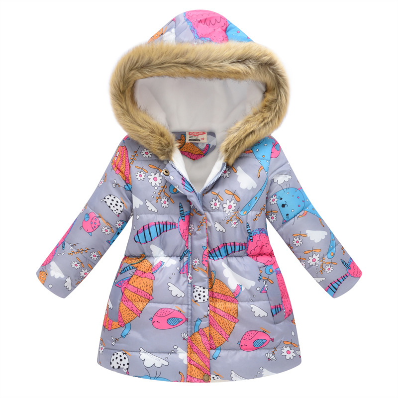 New Autumn Winter Girls Coat Cotton Girls Jacket Thick Fake Fur Warm Jackets For Girls Clothes Coat Casual Hooded Kids Outerwear