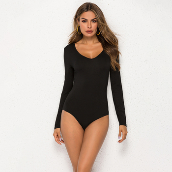 New Women Long Sleeve V Neck Bodysuits Jumpsuit Leotard Tops Stretch Solid Casual Body Femme Fall Winter Womens Clubwear 2