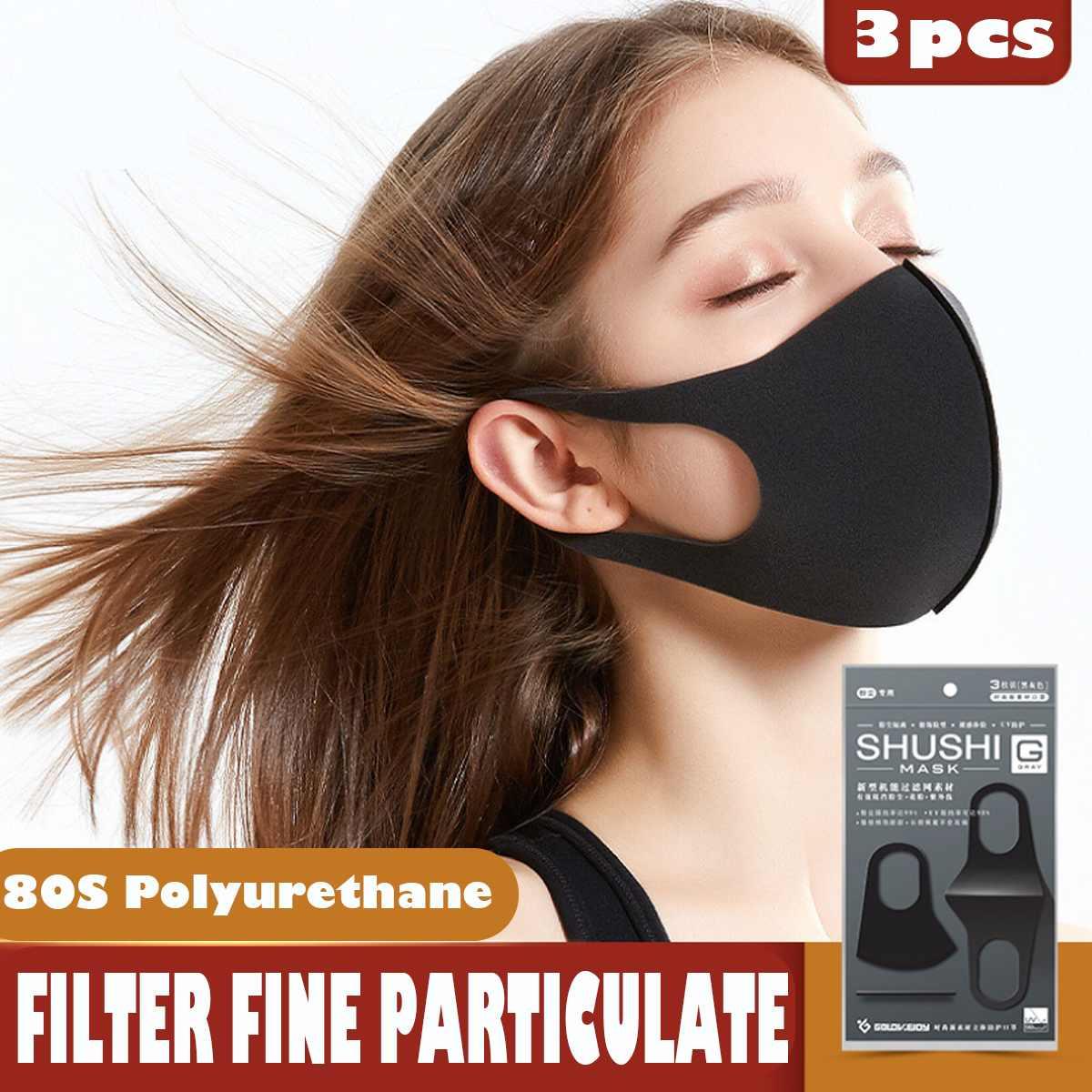 3pcs Elastic PM2.5 Black Face Mask Mouth Mask Anti Dust Mask Filter Washable Anti Fog