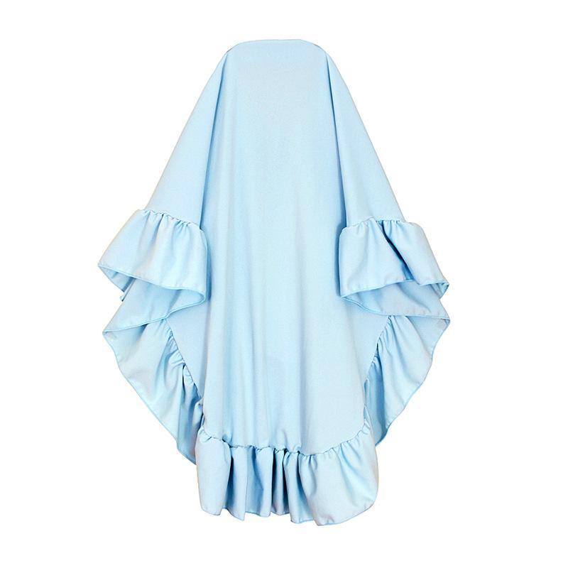 2 Piece Dress Kids Girls Muslim Hijab Islamic Abaya Robe Kaftan Burka Ramadan Arab Printed Loose Gown Prayer Full Cover Dress