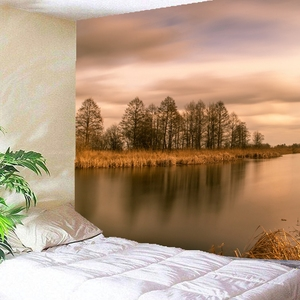 3D озеро, лес, отражение заката, гобелены с лесом, натура, настенные Висячие гобелены, хиппи, хиппи, обои, домашнее украшение
