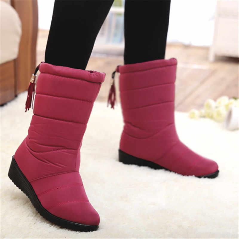 LAKESHI 2019 yeni kadın botları kış kadın yarım çizmeler su geçirmez sıcak kadın kar çizmeler kadın ayakkabıları kadın sıcak kürk Botas Mujer