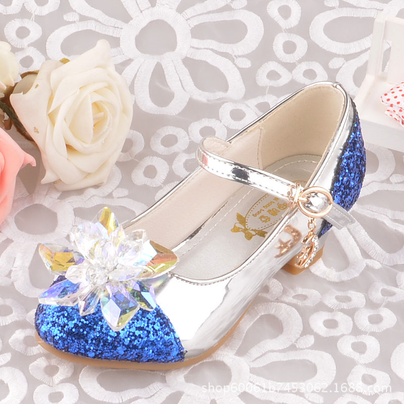 Brand Cinderella Crystal Shoes Children High-heeled Shoes Princess Shiny Leather Shoes Toddler Girls Wedding Party Dress Shoes