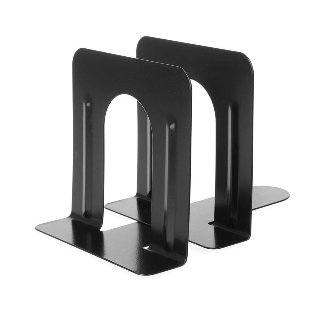 1 Pair Black Metal Bookends Desktop Storage Tools Book Holder Desk Metal Support Bookends Nonskid For Books Holder Stands