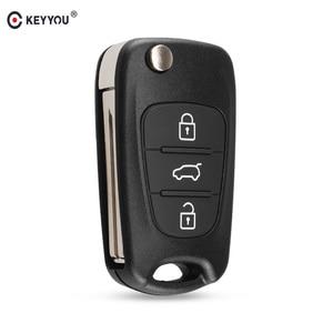 KEYYOU 3 Button Flip Remote Auto Car Key Shell For Hyundai I20 I30 IX35 I35 Accent Solaris Elantra santa fe For Kia cerato ceed(China)