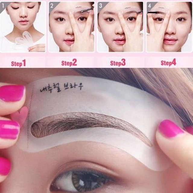 New 24 Pcs Reusable Eyebrow Stencil Set Eye Brow DIY Drawing Guide Shaping Grooming Template Card Easy Makeup Beauty Kit SCI88 4