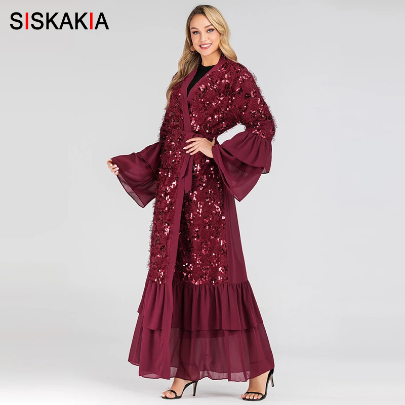 Siskakia Muslim Kimono Luxurious Plush Sequins Stitching Abaya Chiffon Ruffles Flare Sleeve Patchwork Turkish Islamic Clothes