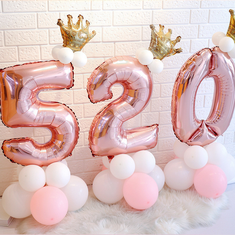 32inch Rose Gold Foil <font><b>Number</b></font> <font><b>Balloons</b></font> Baby Shower Boy 1 2 3 4 5 6 7 <font><b>8</b></font> 9 Years Happy Birthday Party Decorations Kids Party Favors image
