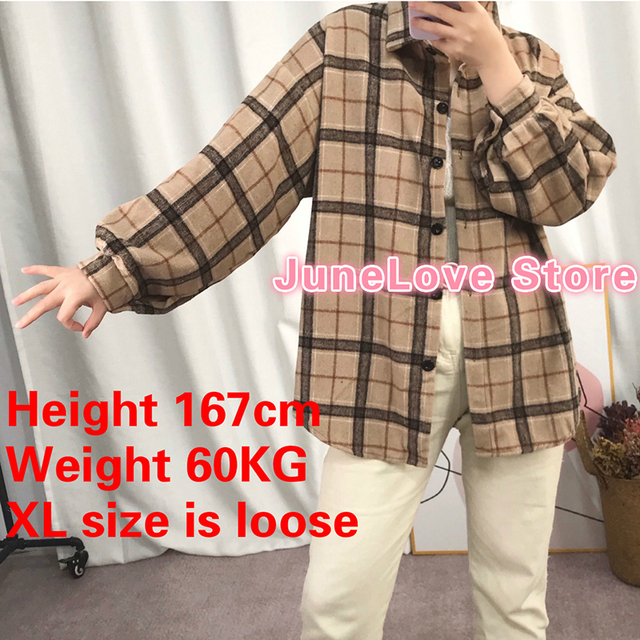 JuneLove Female Spring Street Blouse Shirts Vintage Oversized Plaid Flannel Boyfriend Tunic Shirt for Women Casual Korean Tops 2