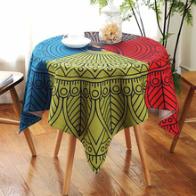 Waterproof National Style Round Tablecloth Cotton Linen Four Color High Quality Table Cloth Restaurant Wedding Party Table Cover