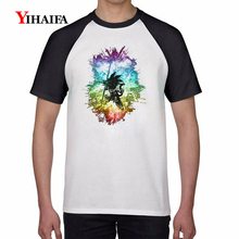 3D Print T Shirts Dragon Ball Z Rainbow Goku Son Graphic Tees Mens Casual Anime T-Shirt Unisex Summer Tops цена