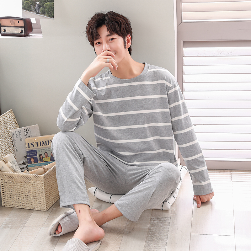 Pajamas Sets Male Striped Full Pure Cotton Carton Fashion Men Long Sleeve Sleepwear Suit 2 Pieces Casual Spring Home Lounge Gift