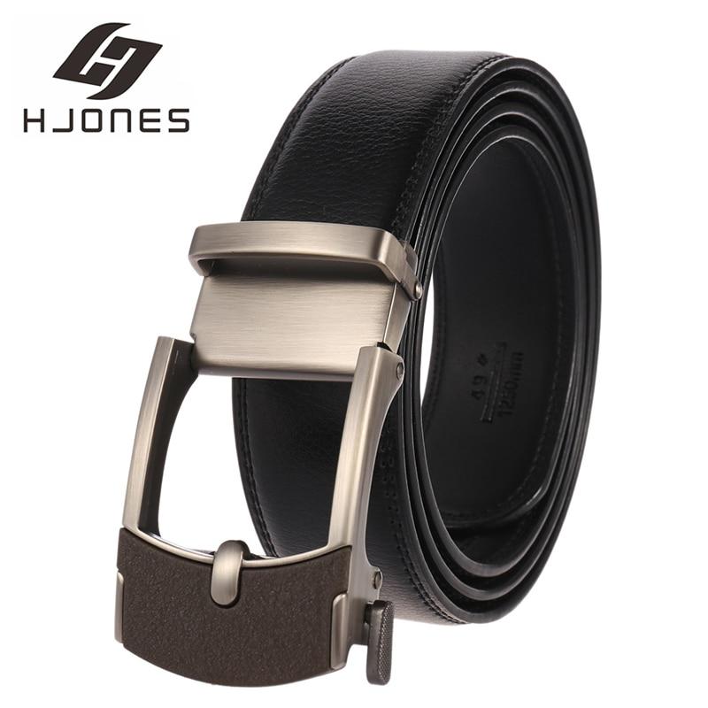 HJones Men's Belt Cow Automatic Buckle Ratchet  with Cowhide Men luxury brand male strap 110-140cm length Leather Belts HJ0405