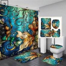 Sexy Mermaid Print Shower Curtain Waterproof Bathroom Curtain Set Anti-slip Bath Rug Mat Soft Carpet Toilet Lid Cover Home Decor