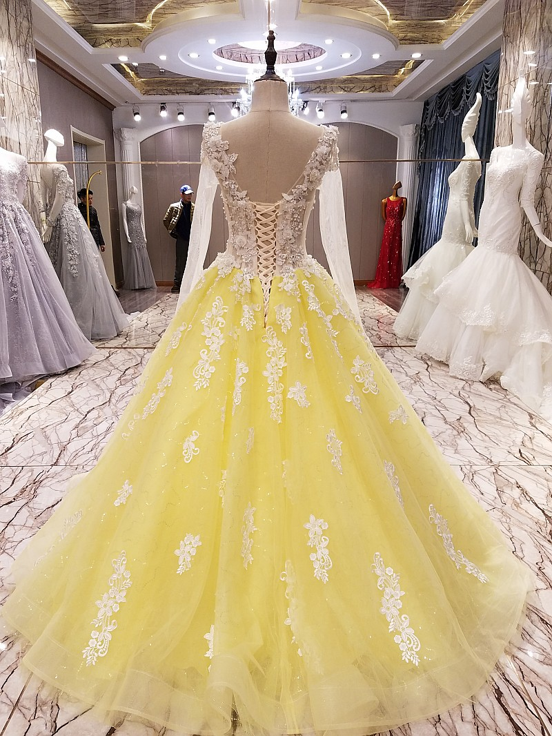 US $12.12 12% OFFLS12 yellow evening gown corset back beaded tulle long  sleeves evening dress long on sale abendkleider lang real photosevening