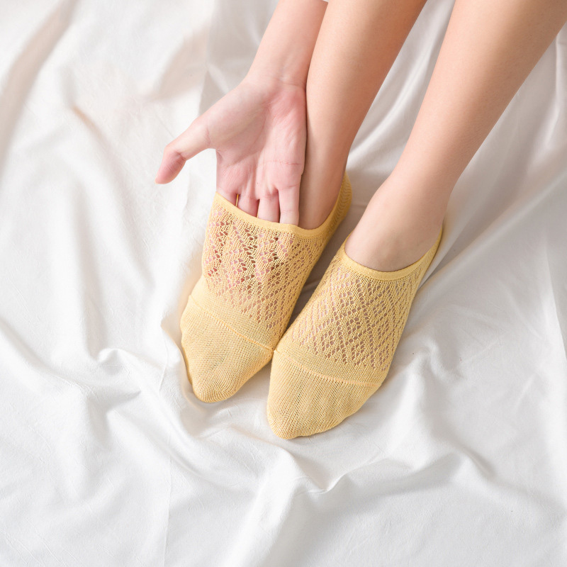 Clearance SaleSocks Slipper Ankle-Boat Mesh Female Silicone 5-Pairs/Set Cotton Summer Women No Solid