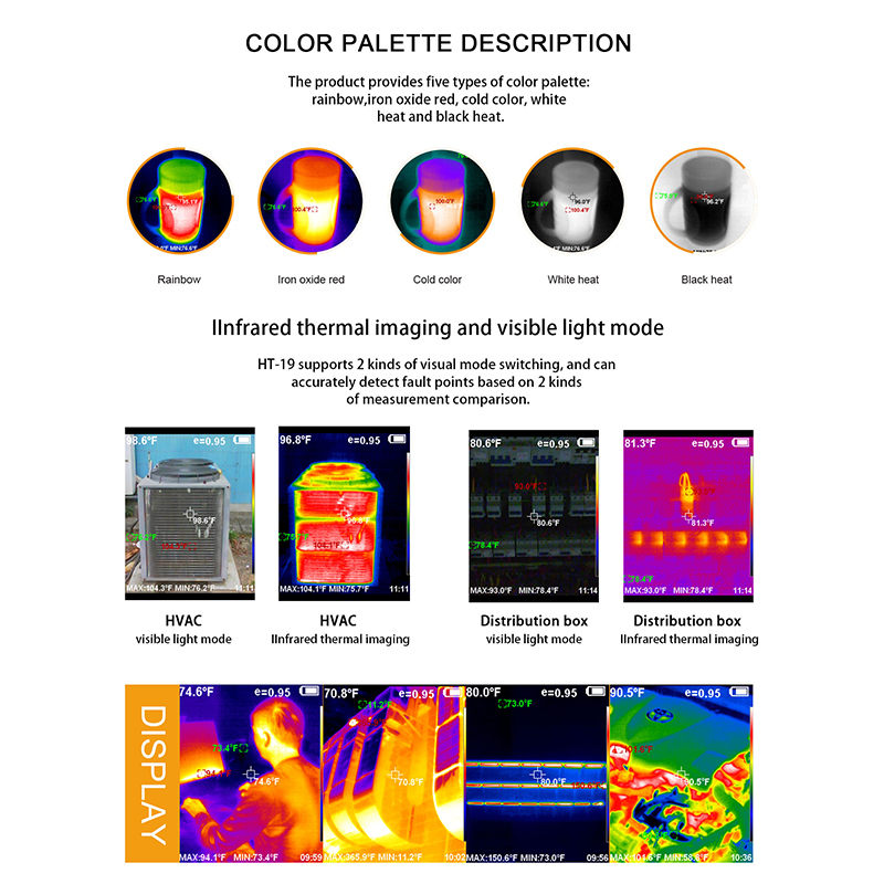 Handheld IR Thermal Imaging Camera With High-Resolution TFT Color Screen Display 4