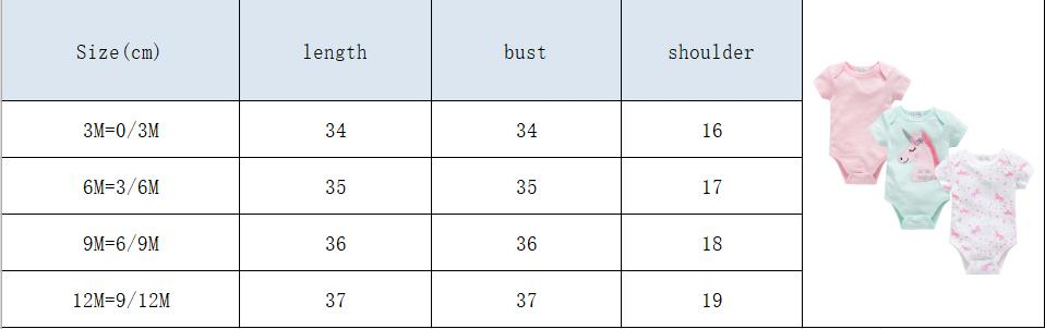 unicorn bodysuit size
