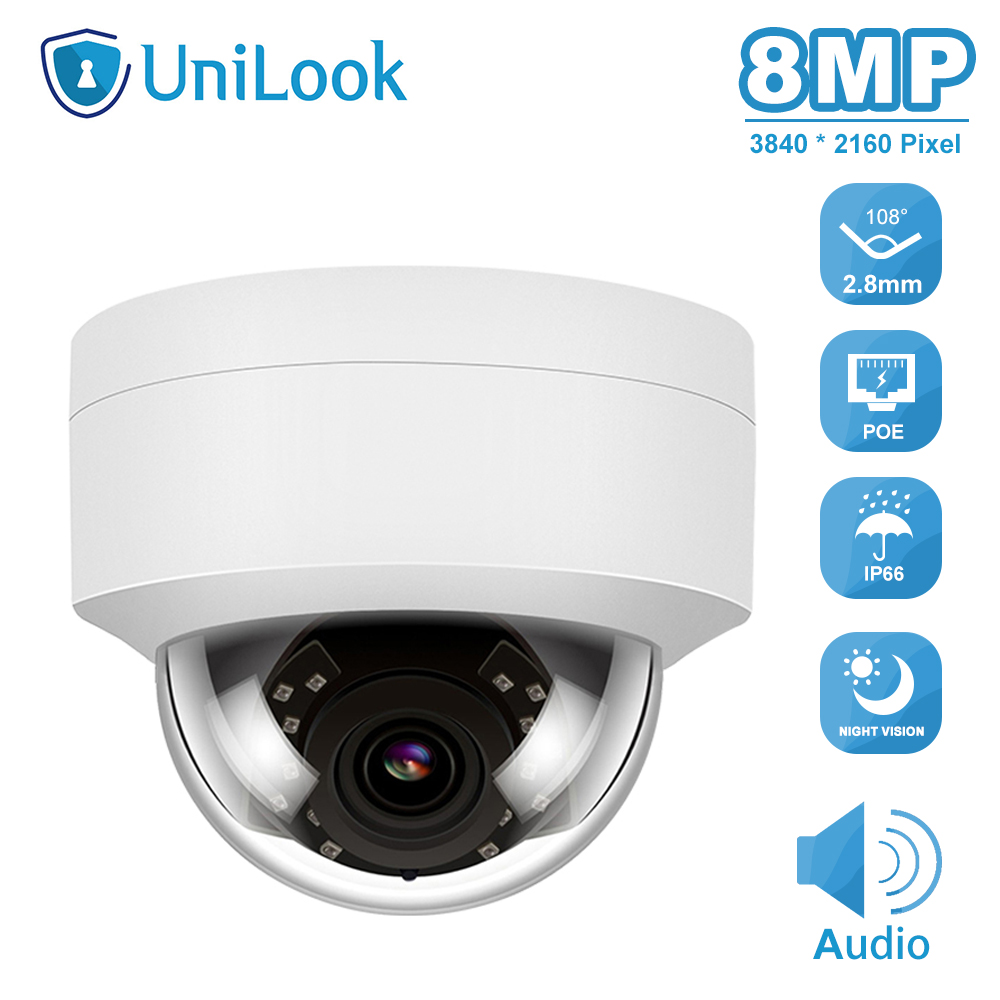 Hikvision Compatible 4K 8MP Dome Outdoor Security Camera POE H.265 CCTV IP Camera Built In Microphone IP 66 ONVIF IR 30m