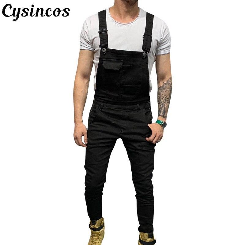 CYSINCOS Fashion Men's Jeans Jumpsuits Hi Street Distressed Denim Bib Overalls 2020 Masculina Suspender Male Pants Size S-XXXL
