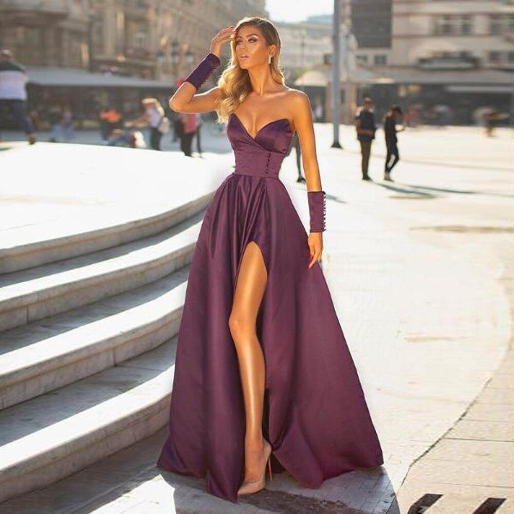 BEPEITHY Sweetheart A Line Long Evening Dress Party Elegant Robe De Soiree Sleeveless High Slit Eggplant Prom Dresses 2020
