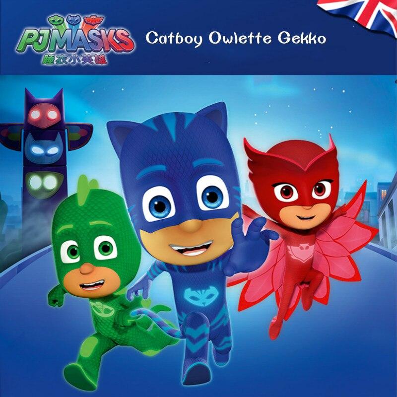 Máscara pj 1 Villa 3 coches 1 estación de gas 3 muñecas modelo Catboy Owlette Gekko figura máscaras conjunto de juegos de juguete para los niños gift2B19 - 3