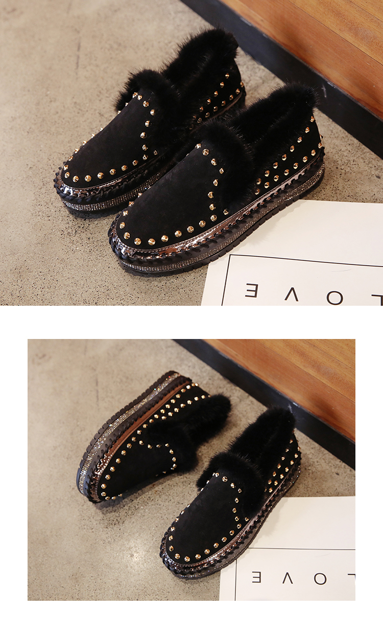 2019 Winter New Women Fur Loafers Comfortable Casual Platform Sneakers 75