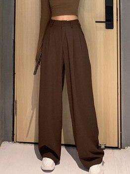 2021 Retro de Color sólido salvaje recto ancho pierna Pantalones mujer primavera nueva moda Coreana de cintura alta pantalones largos 1