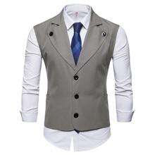 SWAGWHAT Men Single Breasted Suit Vests Gentlemen Casual Business Sleeveless Waistcoat Vintage Formal Blazers Vest for Wedding