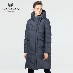 Image 2 - GASMAN 2019 נשים החורף שחור מעיל בתוספת גודל אופנה דובון סלעית חם מעילי מעילי נקבה ארוך המשאף למטה מעיל 19022