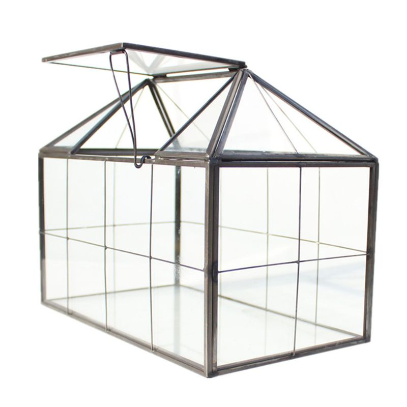 House Shape Close Glass Geometric Terrarium Jewelry Box Clear Glass Box Tabletop Plant Geometrical Box