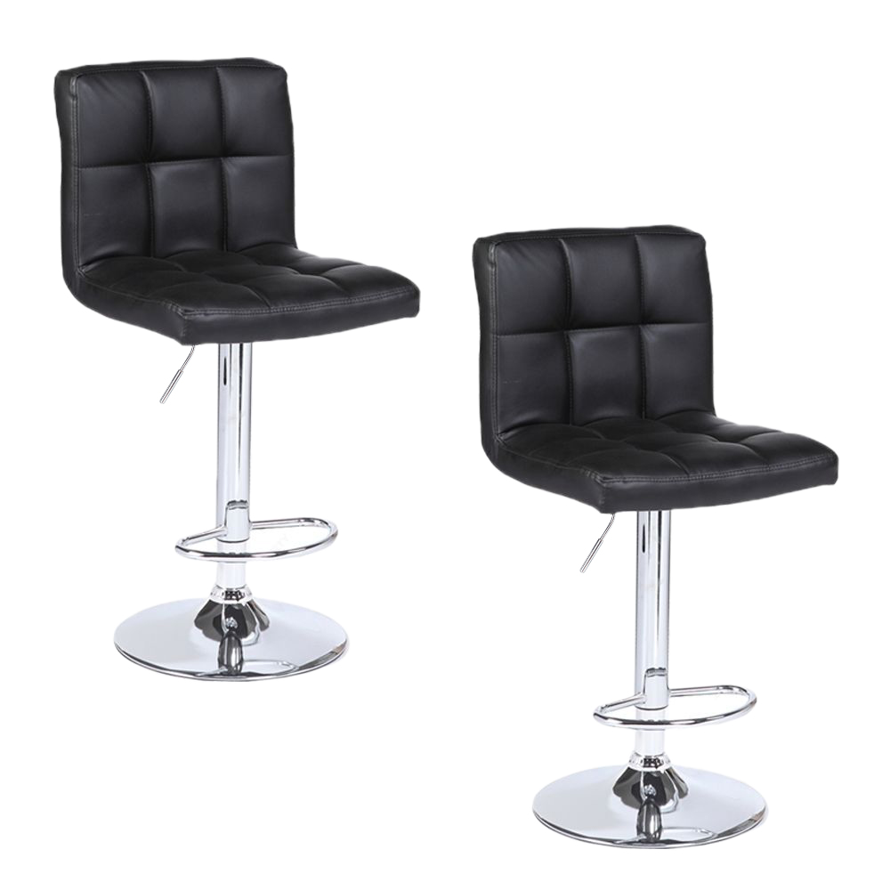 【UK Warehouse】2pcs SSJ-891 60-80cm 6 Checks Round Cushion No Armrest Bar Stool Black  {Free Shipping UK} Drop Shipping