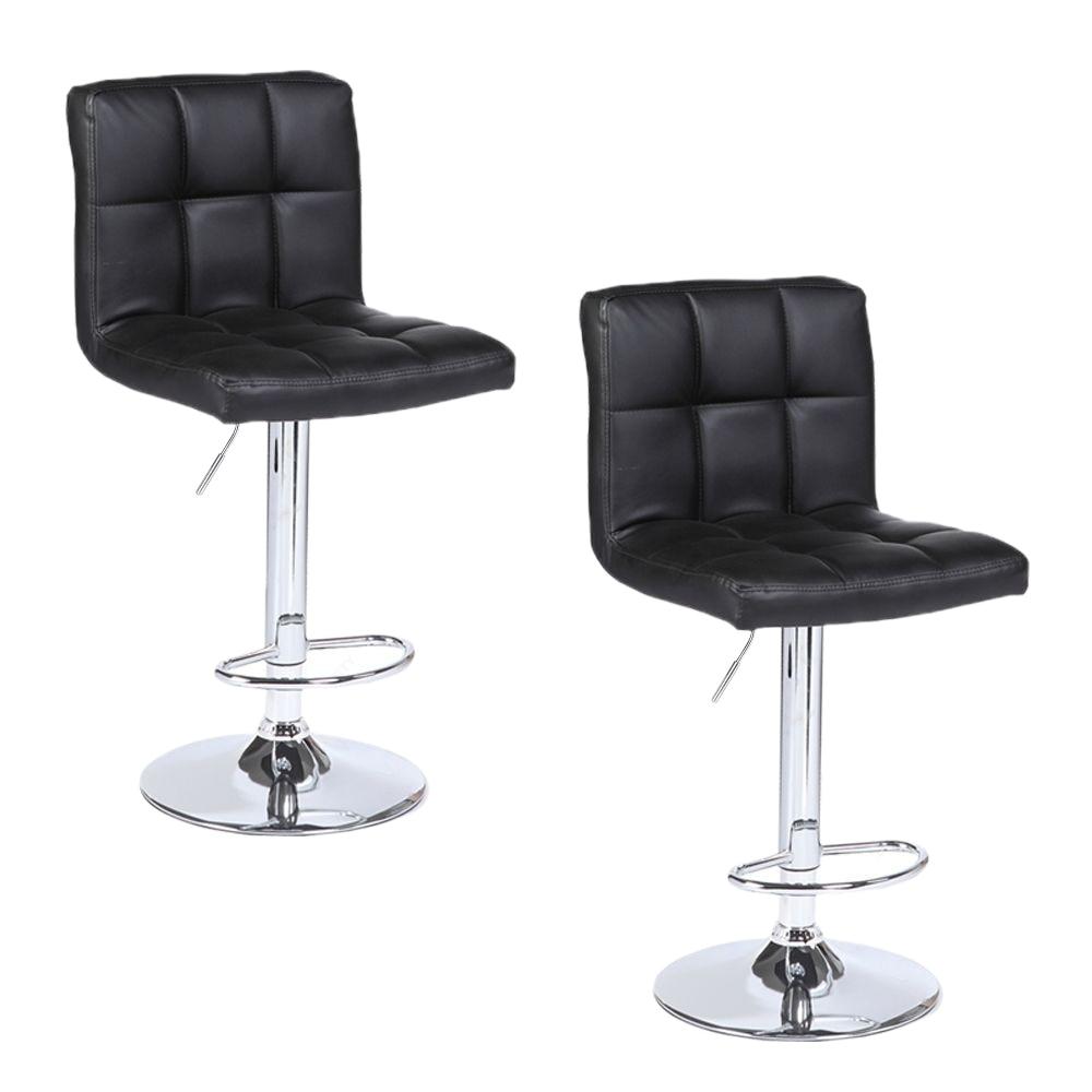 【UK Warehouse】2pcs SSJ-891 60-80cm 6 Checks Round Cushion No Armrest Bar Stool Black  {Free Shipping UK} Drop Shipping