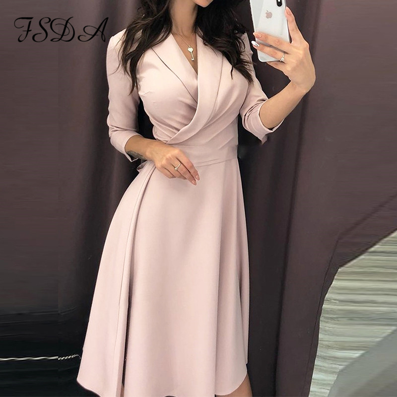 Женское винтажное Повседневное платье FSDA, элегантное офисное платье средней длины с коротким рукавом и бантом, весна 2020