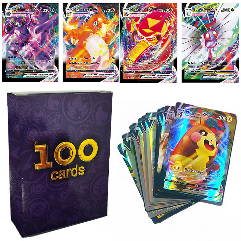 100 pces pokemon v vmax tag equipe mega gx energia brilhando cartões takara tomy cartão de jogo batalha carte negociação melhor vender crianças brinquedo