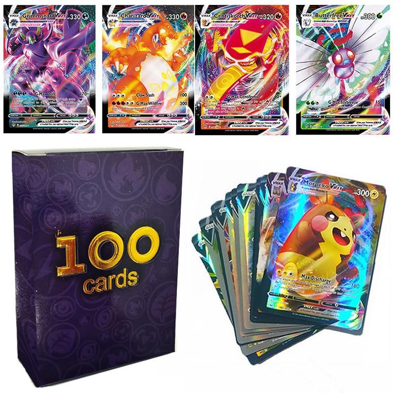 100 шт. Pokemon V VMAX TAG TEAM MEGA GX Energy Сияющие карты TAKARA TOMY игровая карточка Боевая торговая карточка Лидер продаж детская игрушка