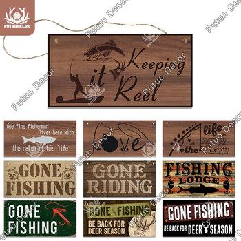 Putuo Decor znaki wędkarskie tablice dekoracyjne tablice drewniane znaki do salonu wystrój drzwi do domu dom nad jeziorem dekoracja ryb Finder tanie i dobre opinie Amerykański styl Rectangle WP0907 Drewno drewniane 3 9x7 8inch 1 x Wooden Plaque 1 X Flex Rope