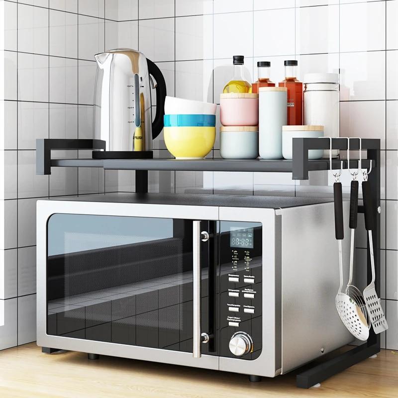 retractable kitchen microwave rack oven storage shelf save space stove top rack kitchen organizer and storage home organization