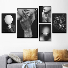 Scandinavian Black White Pop Canvas Posters Nordic Prints Paintings Women Figure Wall Art Pictures For Living Room Home Decor