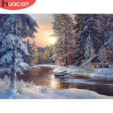 цена HUACAN Painting By Numbers Snow Landscape Kits Drawing Canvas HandPainted DIY Oil Pictures By Numbers Winter Scenery Home Decor