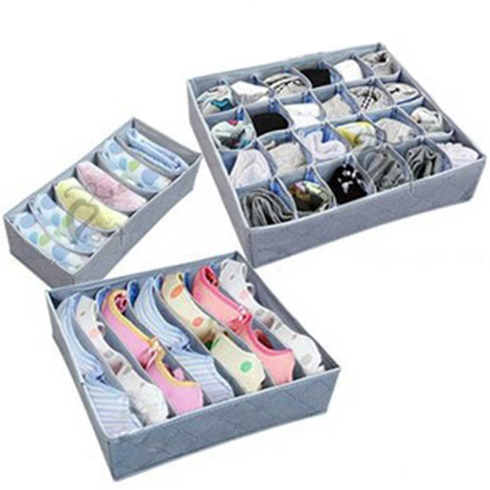 3pcs/set High Capacity Clothes Organizer Pouch Suitcase Case Portable Household Travel Underwear Bra Sock Tie Storage Bag Box