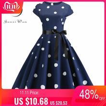 2020 vestido de verão das mulheres do vintage floral impressão rockabilly vestido robe femme vestidos de verão plus size polka dot vestido de festa