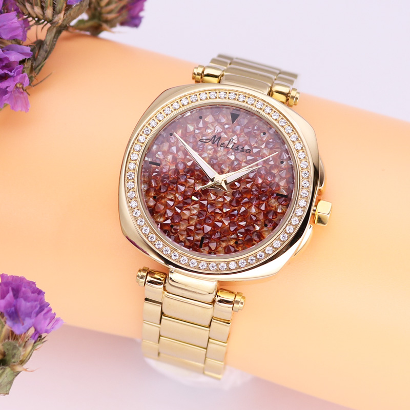 Men's Watch Women's Watch Japan Mov Fashion Full Rhinestone Luxury Couple Clock Crystal Lovers' Watch Birthday Gift Melissa Box