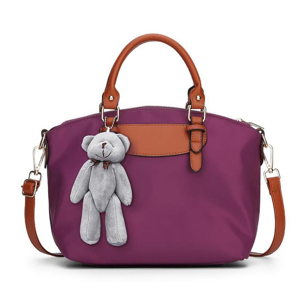 New Nylon Simple Shoulder Bag Bear Pendant Waterproof High Quality Solid Color Ladies Handbags