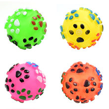 Fun Chew Sound Interactive Cat Puppy Pet Supplies Play Dog Random Color Cute Paw Printed Toy Ball(China)