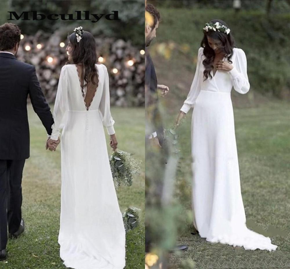 Mbcullyd Simple 2020 Bohemian Country Wedding Dresses V-Neck Backless Long Sleeve Beach Plus Size Wedding Dress Vestido De Novia