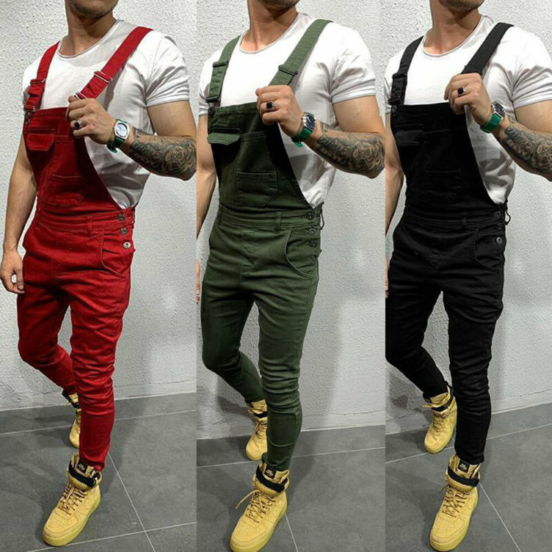 New Fashion Men Denim Dungarees Jumpsuit Ripped Jeans Overalls Cargo Long Pants Trousers