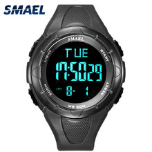 Zegarek cyfrowy mężczyźni SMAEL 50M zegarki wodoodporne zegar Led Alarm czarna bransoletka stoper 1016 Sport Watch cyfrowe zegarki dla mężczyzn